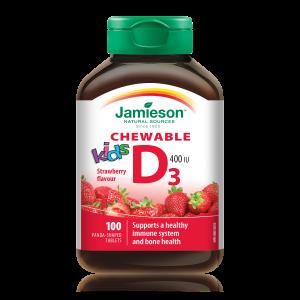 Jamieson Vitamin D3, bonboni za otroke z okusom jagode
