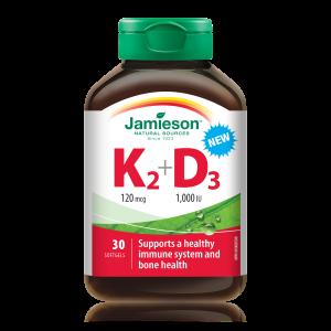 Jamieson Vitamin K2 120 μg + Vitamin D3 1000 i.e., kapsule
